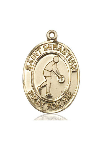 "St. Sebastian / Basketball  14kt Gold 1"" - Discount Catholic Store"