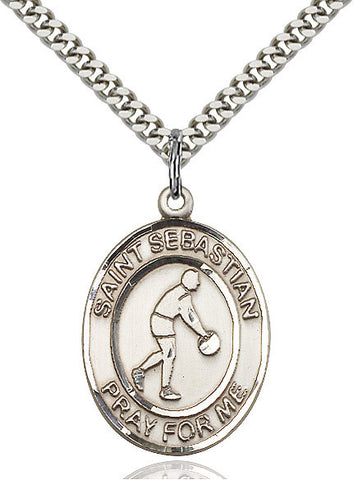 "St. Sebastian / Basketball  Sterling Silver 1"" - Discount Catholic Store"