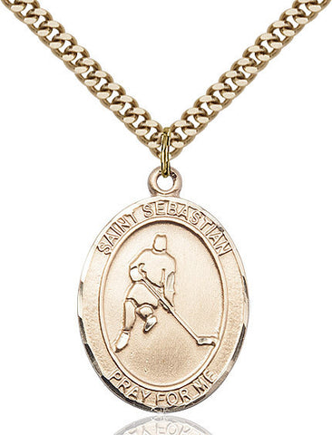 St. Sebastian / Ice Hockey Pendant  14kt Gold Filled 1""
