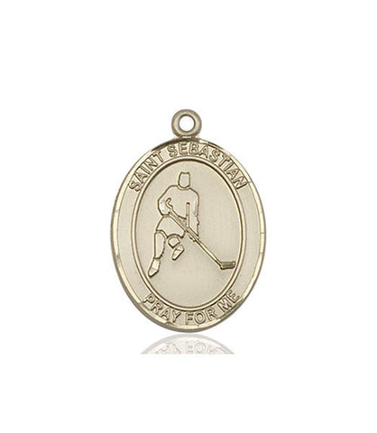 "St. Sebastian / Ice Hockey  14kt Gold 1"" - Discount Catholic Store"