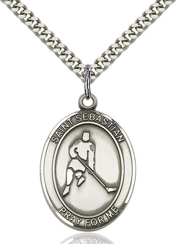 "St. Sebastian / Ice Hockey  Sterling Silver 1"" - Discount Catholic Store"