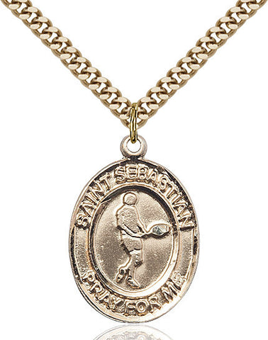 St. Sebastian / Tennis Pendant  14kt Gold Filled 1""