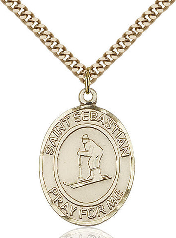 "St. Sebastian / Skiing  14kt Gold Filled 1"" - Discount Catholic Store"