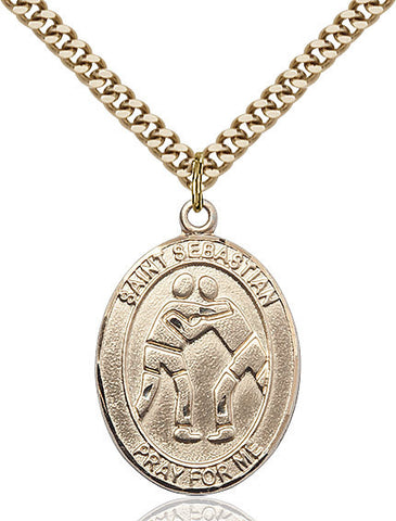 "St. Sebastian / Wrestling  14kt Gold Filled 1"" - Discount Catholic Store"