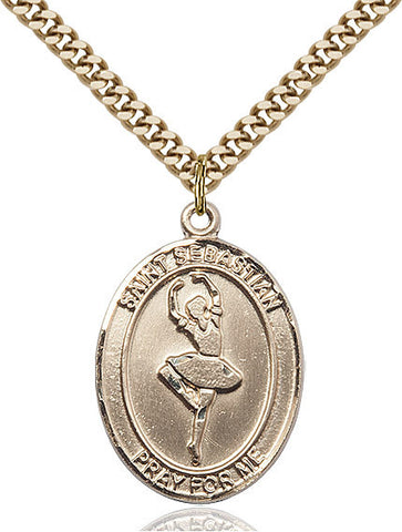 St. Sebastian / Dance Pendant  14kt Gold Filled 1""