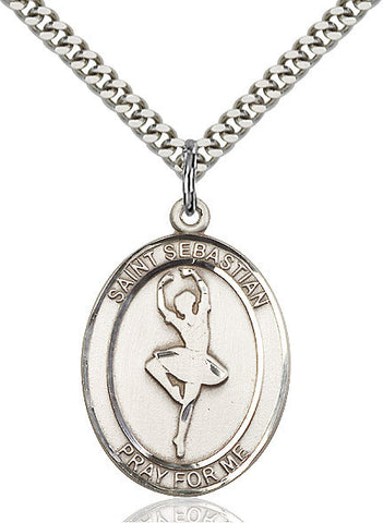 "St. Sebastian / Dance  Sterling Silver 1"" - Discount Catholic Store"