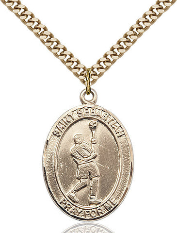 "St. Sebastian / Lacrosse  14kt Gold Filled 1"" - Discount Catholic Store"