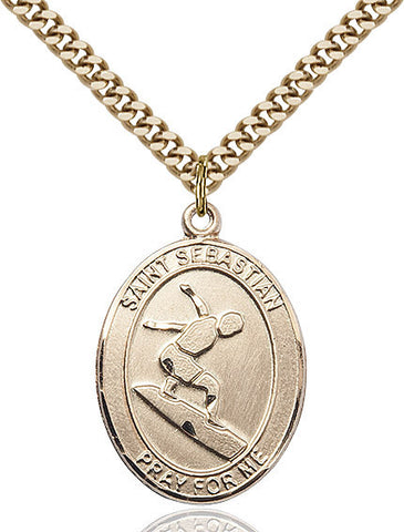 St. Sebastian / Surfing Pendant  14kt Gold Filled 1""