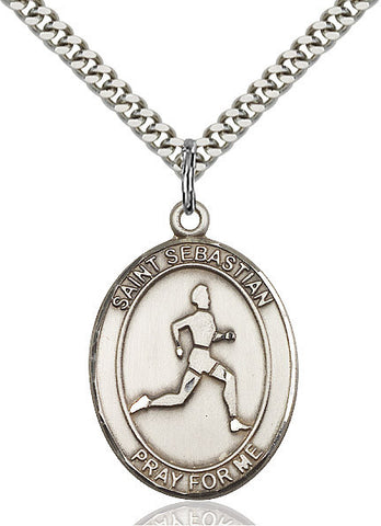 "St. Sebastian / Track & Field  Sterling Silver 1"" - Discount Catholic Store"