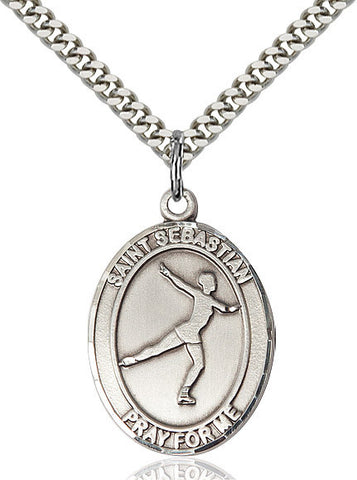 "St. Sebastian / Figure Skating  Sterling Silver 1"" - Discount Catholic Store"