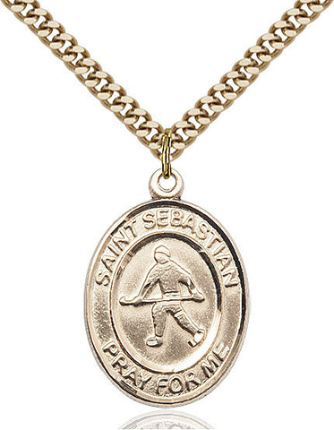 "St. Sebastian / Field Hockey  14kt Gold Filled 1"" - Discount Catholic Store"