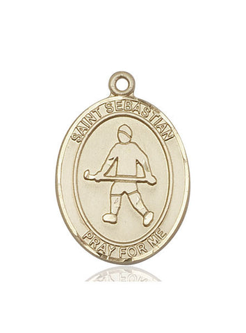 "St. Sebastian / Field Hockey  14kt Gold 1"" - Discount Catholic Store"