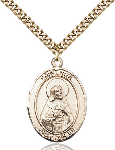 "St. Rita / Baseball  14kt Gold Filled 1"" - Discount Catholic Store"