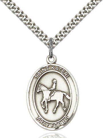 St. Kateri / Equestrian Pendant  Sterling Silver 1""