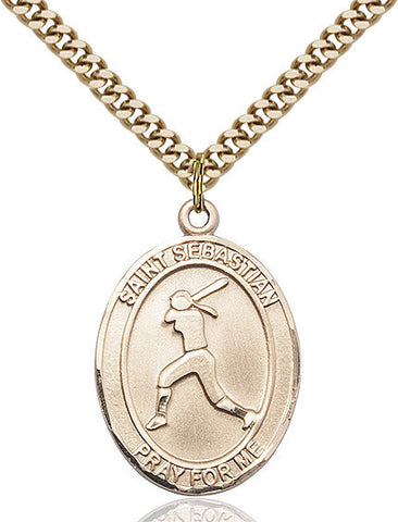St. Sebastian  / Softball Pendant  14kt Gold Filled 1""