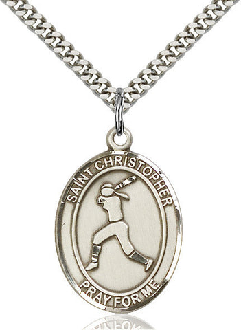 "St. Sebastian / Softball  Sterling Silver 1"" - Discount Catholic Store"