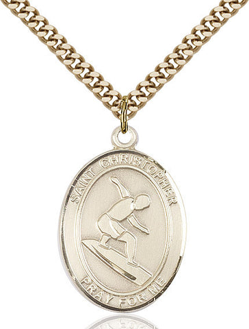 St. Christopher / Surfing Pendant  14kt Gold Filled 1""