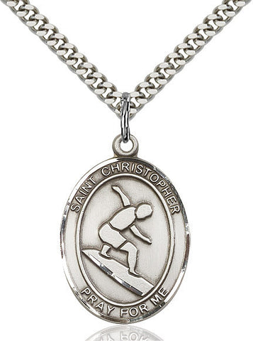 "St. Christopher / Surfing  Sterling Silver 1"" - Discount Catholic Store"