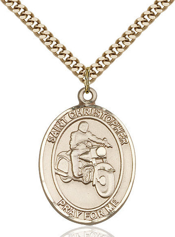 St. Christopher / Motorcycle Pendant  14kt Gold Filled 1""