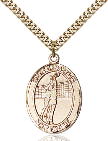 St. Sebastian / Volleyball Pendant  14kt Gold Filled 1""