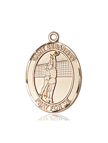 "St. Sebastian / Volleyball  14kt Gold 1"" - Discount Catholic Store"