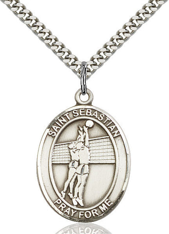 St. Sebastian / Volleyball Pendant  Sterling Silver 1""