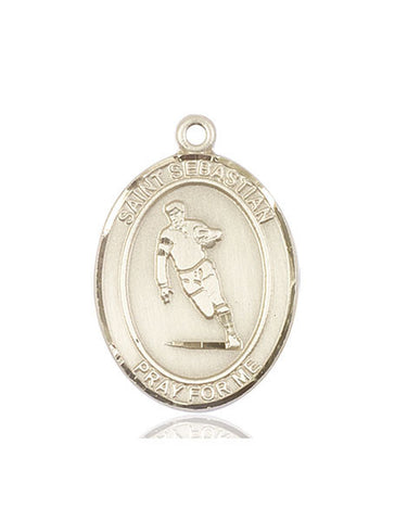 "St. Sebastian / Rugby  14kt Gold 1"" - Discount Catholic Store"