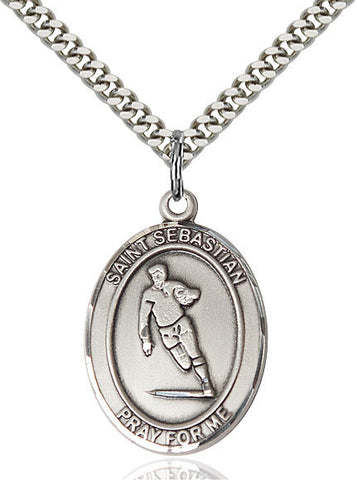St. Sebastian / Rugby Pendant  Sterling Silver 1""
