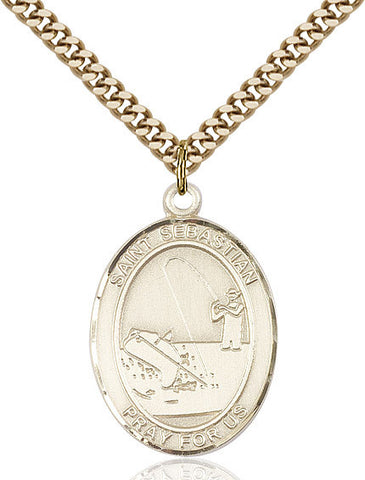 St. Sebastian / Fishing Pendant  14kt Gold Filled 1""