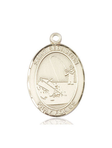 "St. Sebastian / Fishing  14kt Gold 1"" - Discount Catholic Store"