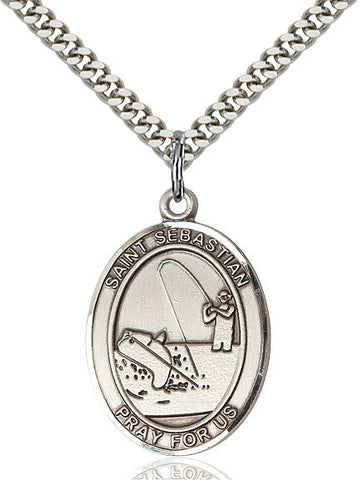 "St. Sebastian / Fishing  Sterling Silver 1"" - Discount Catholic Store"
