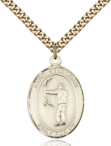 St. Sebastian / Archery Pendant  14kt Gold Filled 1""