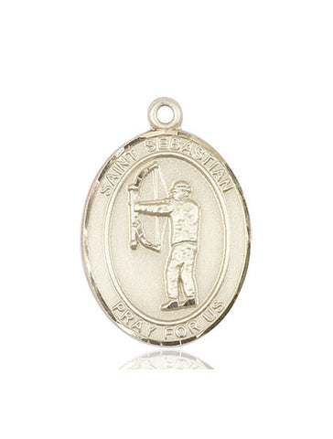 "St. Sebastian / Archery  14kt Gold 1"" - Discount Catholic Store"