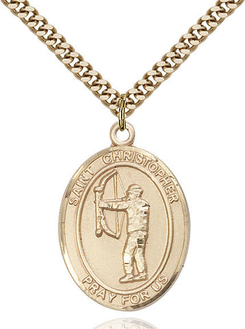 St. Christopher/archery Pendant  14kt Gold Filled 1""