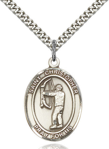St. Christopher/archery Pendant  Sterling Silver 1""