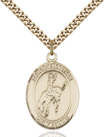 St. Sebastian / Rodeo Pendant  14kt Gold Filled 1""