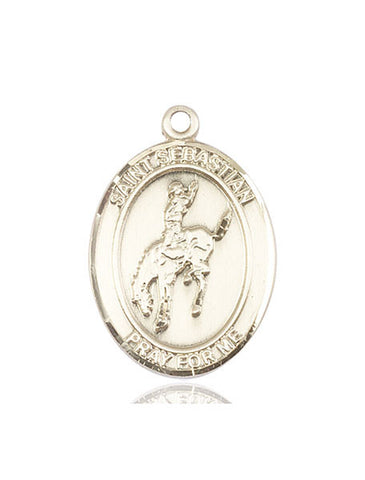 "St. Sebastian / Rodeo  14kt Gold 1"" - Discount Catholic Store"