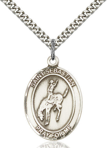 "St. Sebastian / Rodeo  Sterling Silver 1"" - Discount Catholic Store"