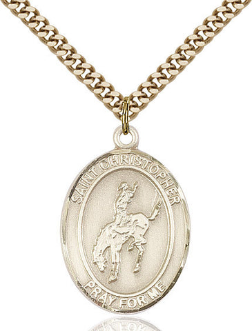 St. Christopher / Rodeo Pendant  14kt Gold Filled 1""