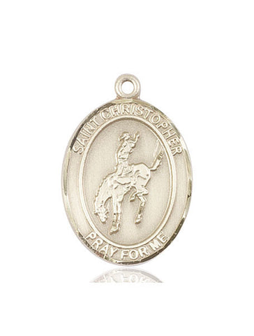 St. Christopher / Rodeo Pendant  14kt Gold 1""
