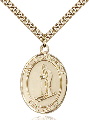 St. Christopher / Skiing Pendant  14kt Gold Filled 1""
