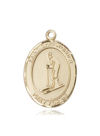"St. Christopher / Skiing  14kt Gold 1"" - Discount Catholic Store"
