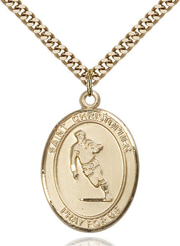 St. Christopher / Rugby Pendant  14kt Gold Filled 1""