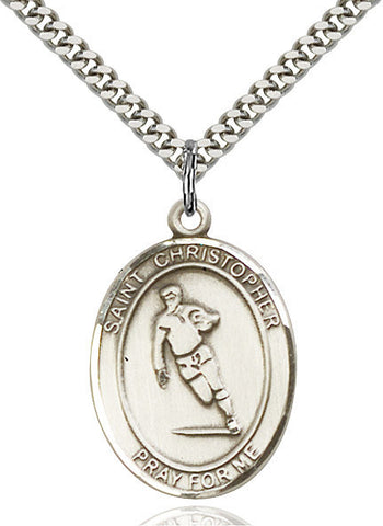 St. Christopher / Rugby Pendant  Sterling Silver 1""