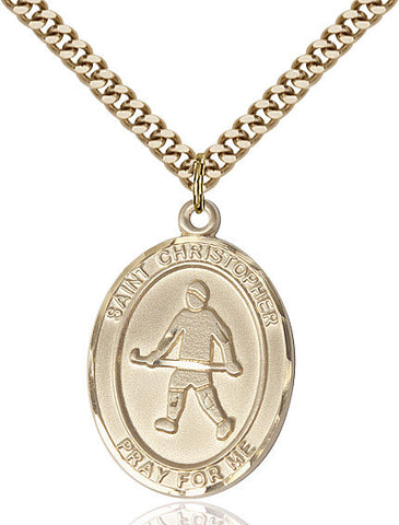 St. Christopher / Field Hockey Pendant  14kt Gold Filled 1""