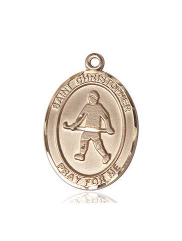 "St. Christopher / Field Hockey  14kt Gold 1"" - Discount Catholic Store"