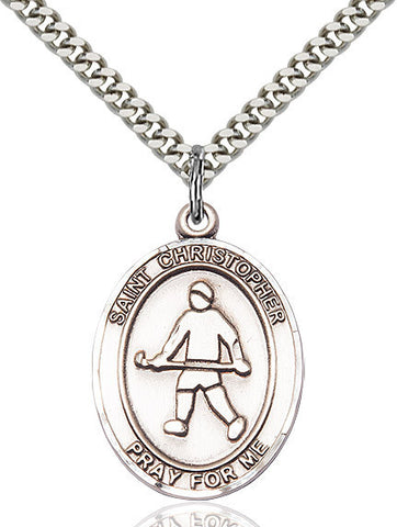 St. Christopher / Field Hockey Pendant  Sterling Silver 1""