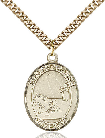 "St. Christopher / Fishing  14kt Gold Filled 1"" - Discount Catholic Store"