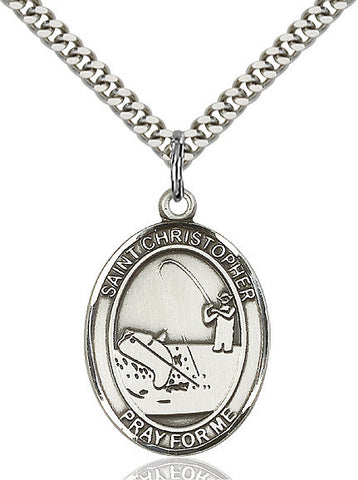 St. Christopher / Fishing Pendant  Sterling Silver 1""