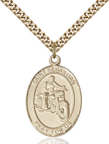 St. Sebastian / Motorcycle Pendant  14kt Gold Filled 1""